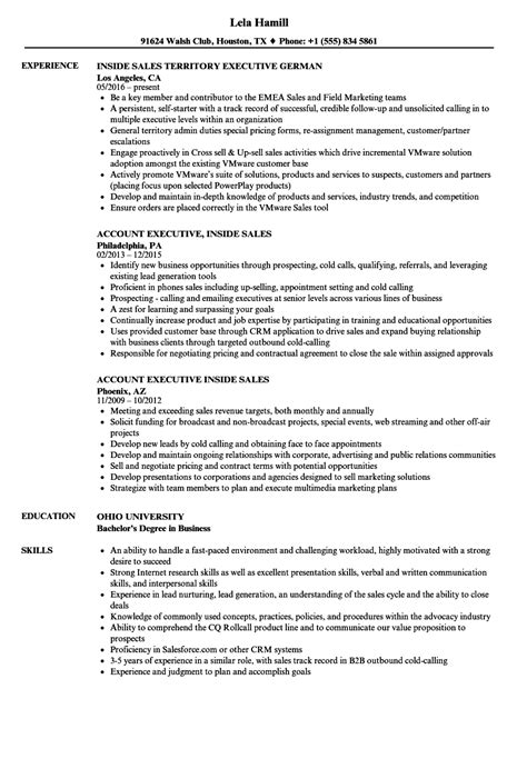 Inside Sales Resume by Sales Executive Inside Sales Resume Sles Velvet