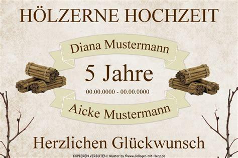 Hochzeit 5 Jahre by Schild Geschenk H 214 Lzerne Hochzeit 5 Jahre Individuell