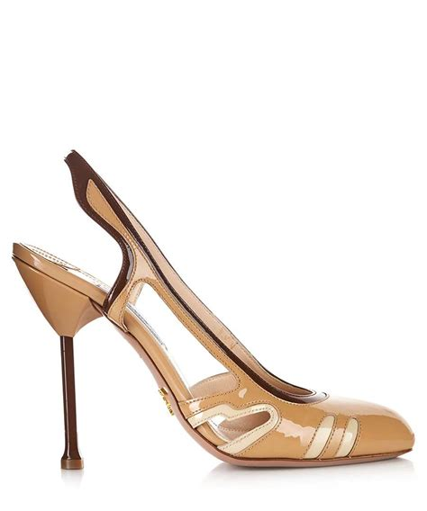Prada Details Another Heel by Discount Beige Slingback Leather Heels Secretsales