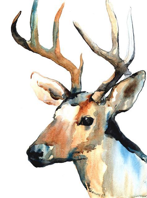 reindeer printable wall art christmas gift reindeer watercolor art digital print a4 a3