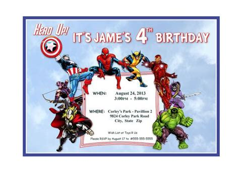 printable birthday invitations avengers printable custom personalized birthday invitation