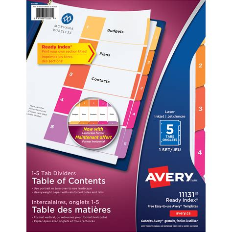 free avery template for ready index table of contents dividers avery ready index customizable table of contents classic