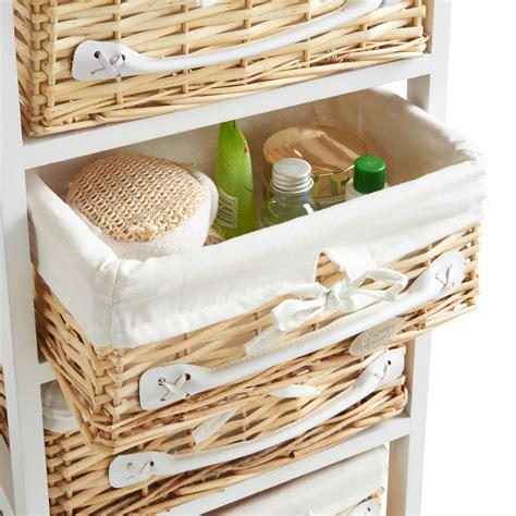 Drawers With Wicker Baskets by Vonhaus 4 Drawer Wicker Basket Wood Storage Unit Bedroom
