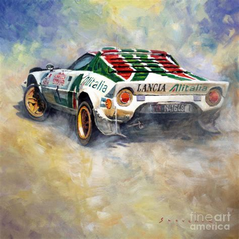 Kaos Print Umakuka Original Rally Car lancia stratos 1976 rallye sanremo painting by yuriy shevchuk