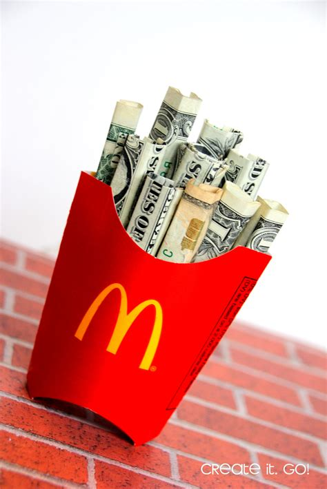 Money Gift Card - creative way to give money as a gift diy money french fries create it go