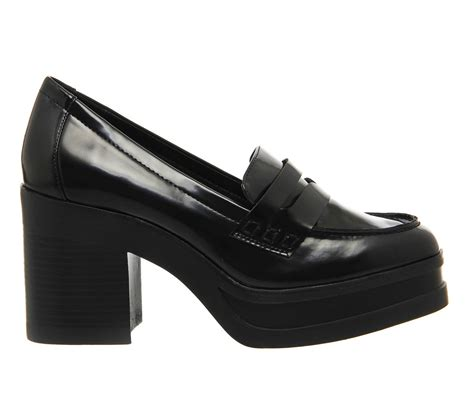 heeled loafers office question platform mid heel loafers in black lyst