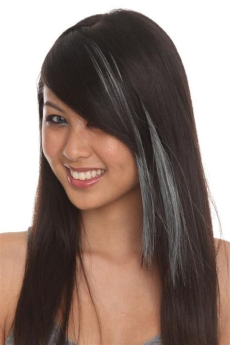 streaks for gray hair black bob with gray streak short black hair styles with