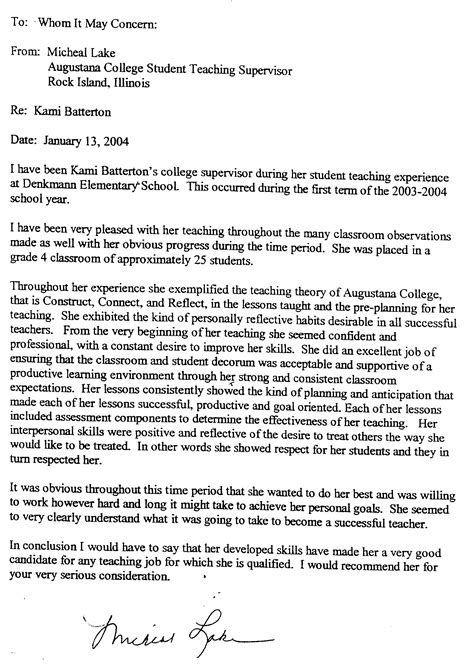 Recommendation Letter To College From Parent My Profile Kami A Spatzek