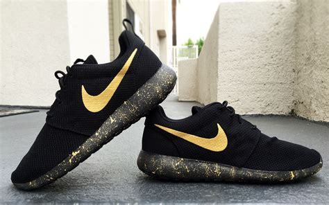 black and gold nike shoes womens and mens custom nike roshe black and gold black
