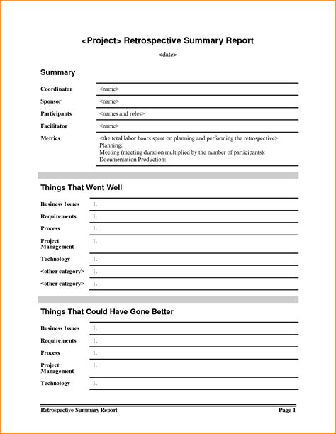 Project Retrospective Template by 7 Summary Report Template Expense Report