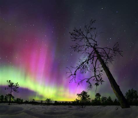 multi colored multicolored borealis in the northern urals