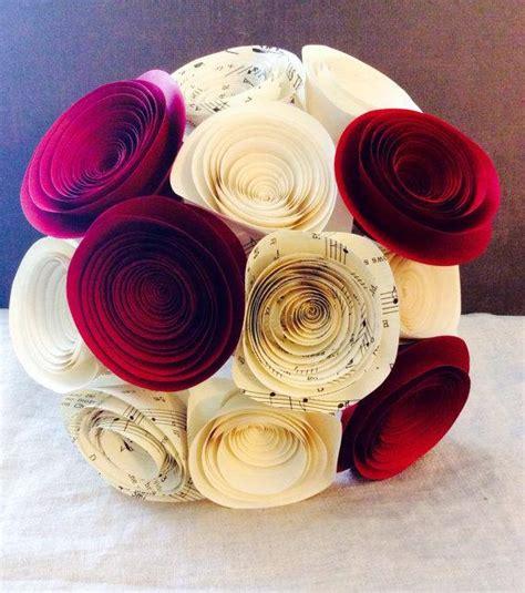 rose themed paper paper flower bouquet red cream music sheet wedding