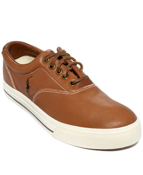polo ralph vaughn sneakers polo ralph vaughn leather sneakers in brown for