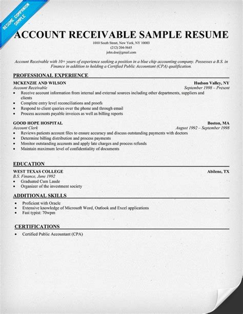 accounts receivable resume sle account receivable resume sle resume sles across