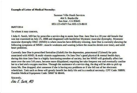 Service Animal Letter exle doctor note for service pdf printable