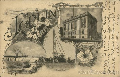 Post Office Joplin Mo by Grand Falls Drill Rig Post Office Joplin Mo Postcard