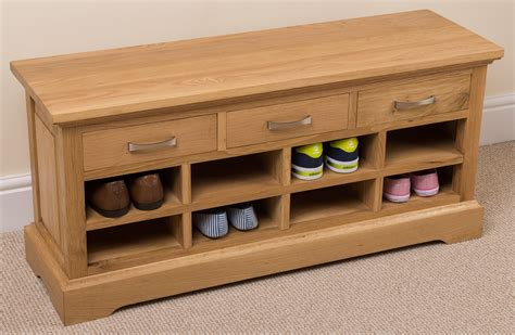 shoe bench uk aspen 100 solid oak wood 3 drawer shoe bench rack hallway