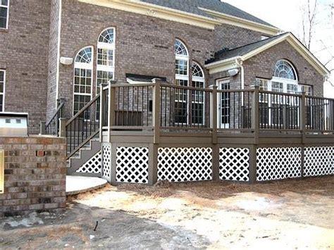 Deck Railing Designs With Lattice - composite decks with metal railing and white lattice