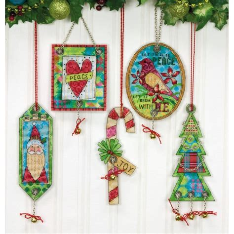 counted cross stitch kit jingle bell christmas ornaments