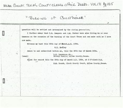 Milam County Records Information Requests Milam County Courthouse Burning