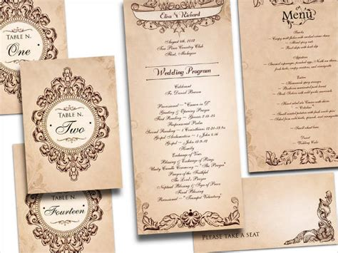 vintage wedding program templates free wedding program templates 9 free psd vector ai