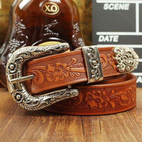 Handmade Cowboy Belts - 3 3cm vintage emboss flower belt handmade cowboy belt