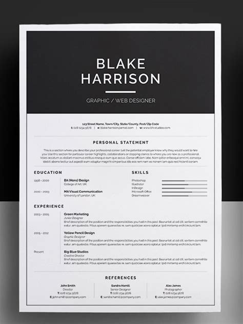 Free Awesome Resume Templates by 50 Awesome Resume Templates 2016