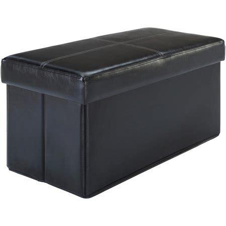 black faux leather storage ottoman mainstays collapsible storage ottoman black faux leather