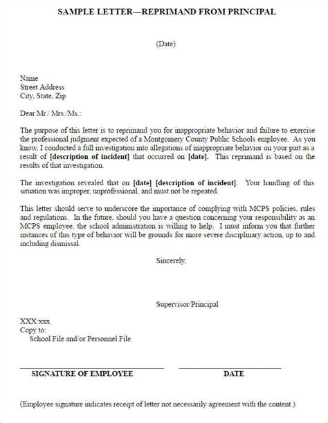 Response Letter To Letter Of Reprimand sle letter of reprimand template pictures to pin on
