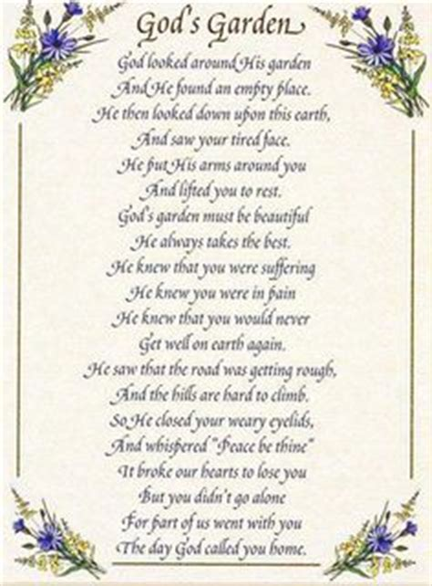Garden Sayings For Funerals 1000 Images About On Miss You Funeral