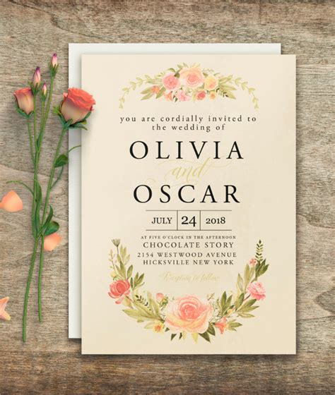 wedding invitation card suite with flower templates 30 wedding invitations free psd vector ai ep