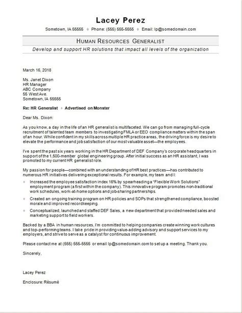 cover letters for hr hr generalist cover letter sle