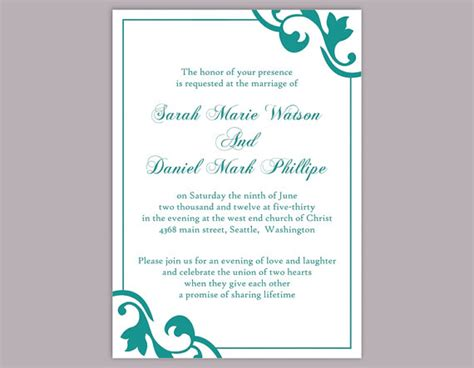 Diy Wedding Invitation Template Editable Word File Instant Download Elegant Printable Invitation Editable Wedding Invitation Templates Free