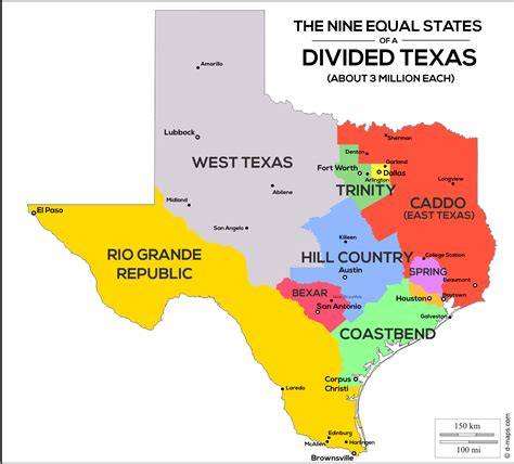 texas population map nine equal states of a divided texas population map oc 3195x2891 mapporn