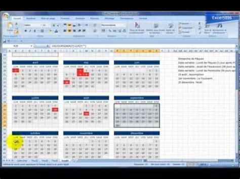 Faire Un Calendrier Sur Excel Excel 2007 R 233 Alisez Un Calendrier Avec Des Jours F 233 Ri 233 S