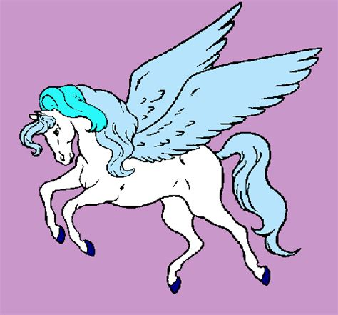 imagenes unicornios para dibujar dibujo de pegaso volando pintado por unicornio en dibujos