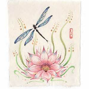 Lotus Flower And Dragonfly Original Dragonfly Painting With Lotus Flower