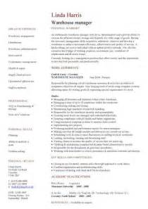 warehouse supervisor sle resume warehouse manager cv sle