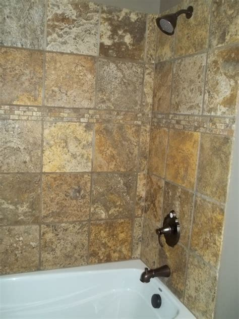 12x12 tiling above tub pictures for will s bathroom scabos tumbled travertine bathroom remodel project