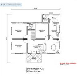 One Level Home Plans by Kerala Style Single Floor House Plan 1155 Sq Ft Home