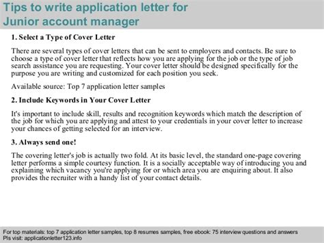 Junior Account Manager Cover Letter Junior Account Manager Application Letter