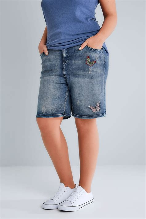 Check Balance On Indigo Gift Card - indigo blue distressed denim shorts with butterfly embroidery plus size 16 to 32