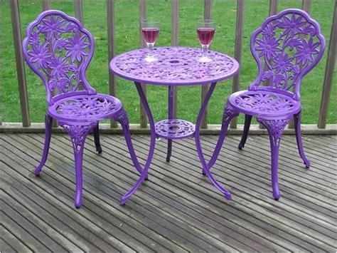 gloss purple cast aluminium garden furniture bistro set
