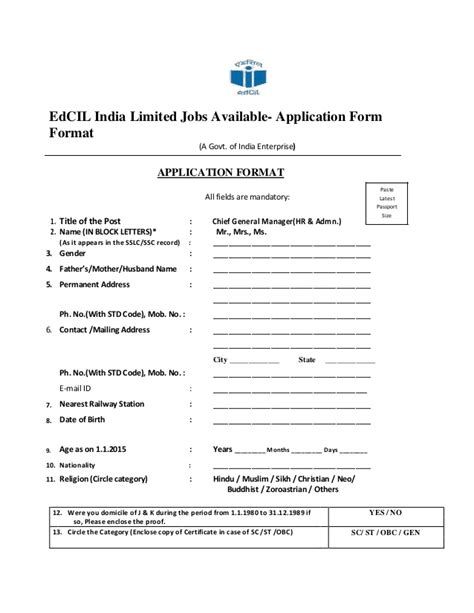 Application Letter Format India Edcil India Limited Available Application Form Format