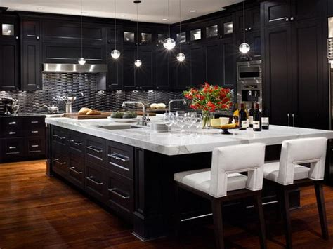 black kitchen cabinets with any type of decor