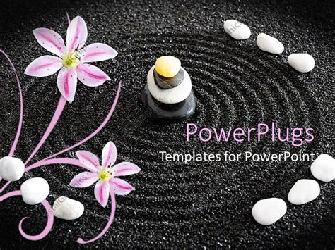 Powerpoint Template A Beautiful Depiction Of Zen Garden Along With Circles In The Black Sand Presentation Zen Powerpoint Templates