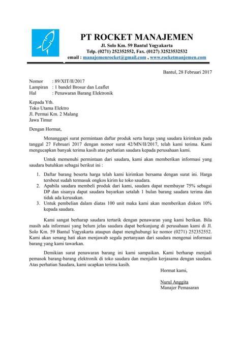 Surat Penawaran Alat Elektronik 11 contoh surat penawaran barang jasa kerjasama pesanan
