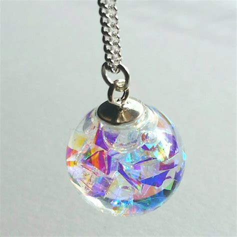 hologram necklace rainbow mirror snowglobe necklace by