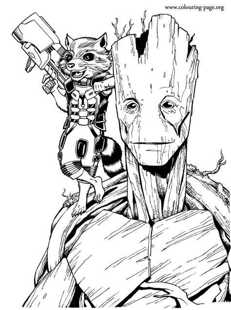 marvel movie coloring pages enjoy coloring this free printable groot and rocket