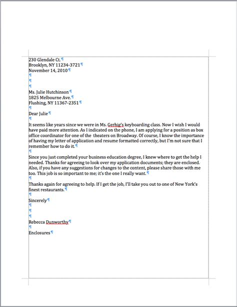 what is a personal business letter example for students formal
